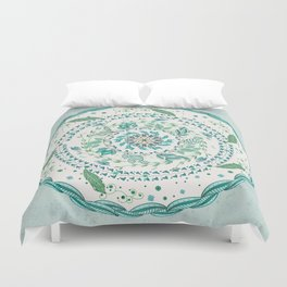 Leaf and Feather Calming Turquoise Mandala Duvet Cover