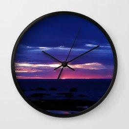 Purple Sunset over Sea Wall Clock
