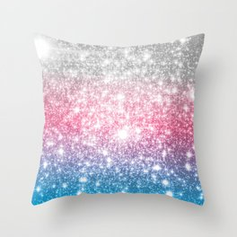 Galaxy Sparkle Stars Cotton Candy Throw Pillow