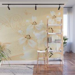 Modern White Lilies (light golden) Wall Mural