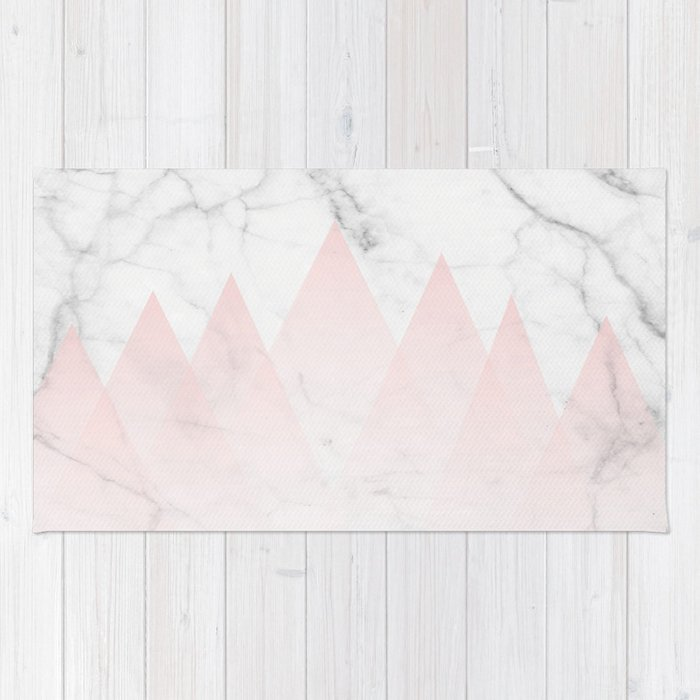 White Marble Background Pink Abstract Triangle Mountains Rug