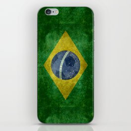 Flag of Brazil with football (soccer ball) retro style iPhone Skin