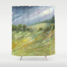 Precious Green Watercolor Landscape Shower Curtain