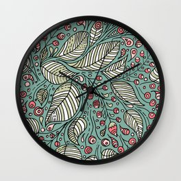 Leaves and Berries Wall Clock