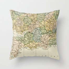 England and Wales Vintage Map Throw Pillow