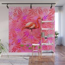 Blushing Cannabis Flamingo Wall Mural