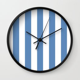 Silver Lake blue - solid color - white vertical lines pattern Wall Clock