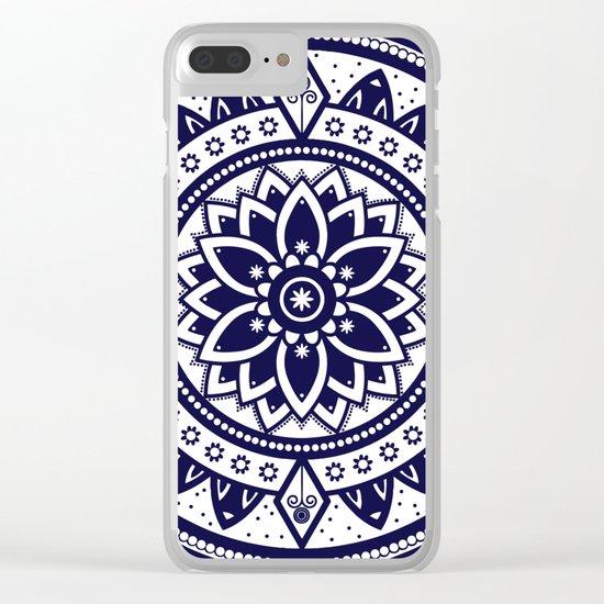 Blue & White Patterned Flower Mandala Design Clear iPhone Case
