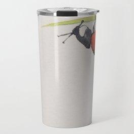 Ladybird under a blade of grass Travel Mug