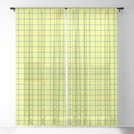 Grid Pattern - lemon yellow and blue - more colors Sheer Curtain