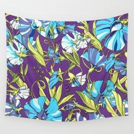 Fairytale Floral Pattern in Blue Lollipop Pinwheels & Persian-Purple Wall Tapestry