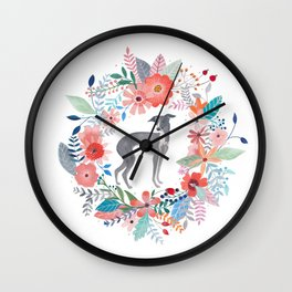 Italian Greyhound And Flowers Wall Clock