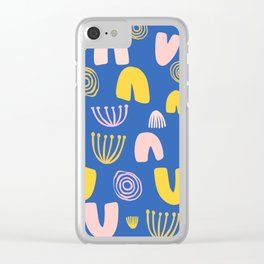 Abstract Shapes Pattern in Blue Clear iPhone Case