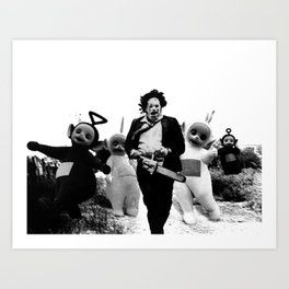 Leatherface with Teletubbies Art Print