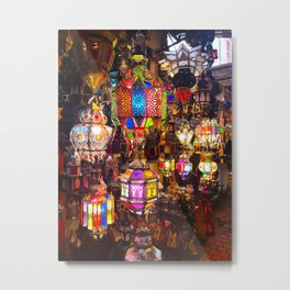 Lamps in the Souk, Fez Morocco, Africa Metal Print