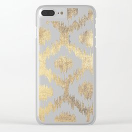 Modern white hand drawn ikat pattern faux gold Clear iPhone Case