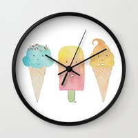 icecream Wall Clocks featuring Icecream by FLeK'N