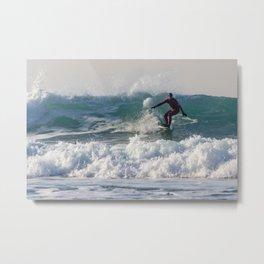 Surfers at Porthtowan Metal Print