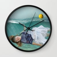 mermaid Wall Clocks featuring Mermaid  by Mary Kilbreath