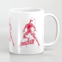 daredevil Mugs featuring Daredevil Superhero by Carma Zoe