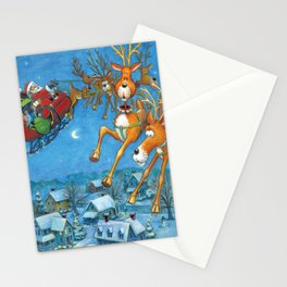 Santa circling over the little town of Bishop Hollow Stationery Cards