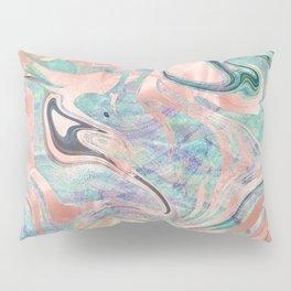Pastel Rose Gold Mermaid Marble Pillow Sham