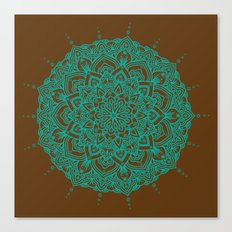 Blue Green Mandala With Droplets On Brown Canvas Print