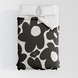 60s 70s Hippie Flowers Black Comforters