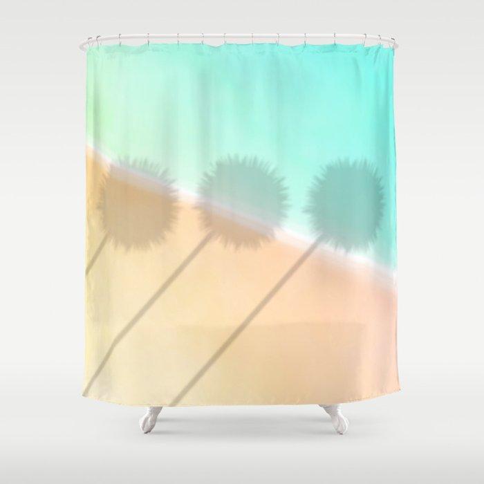 Palm Shadow Tropical Beach Scene Shower Curtain