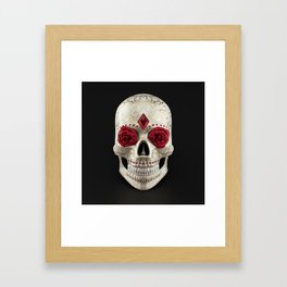 Calavera or Sugar Skull. Human skull decorated with roses, rubies and golden floral ornaments Framed Art Print