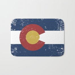 Distressed Colorado Flag Bath Mat