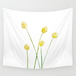 Yellow Billy Button Flowers Wall Tapestry