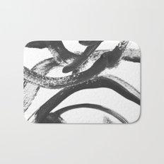 Interlock black and white paint swirls Bath Mat