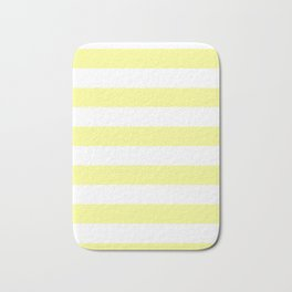 Horizontal Stripes - White and Pastel Yellow Bath Mat