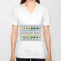 african V-neck T-shirts featuring African beat by mike lett