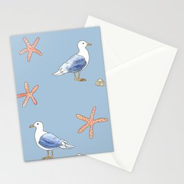 Seagull with Sea stars Watercolor Design Stationery Cards