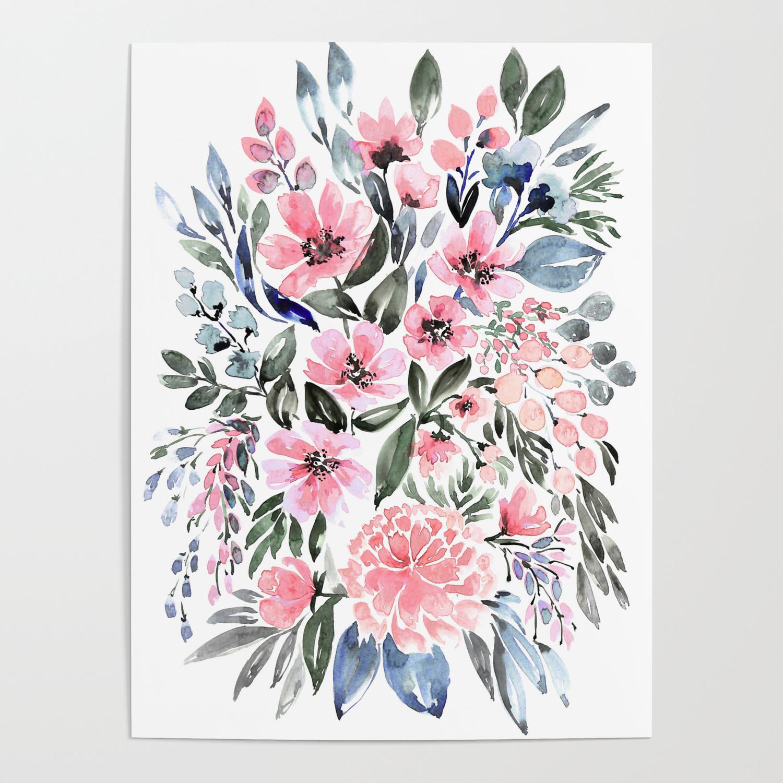 Loose Watercolor Floral Bouquet Clara Poster By Blursbyaishop