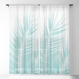 Soft Turquoise Palm Leaves Dream - Cali Summer Vibes #1 #tropical #decor #art #society6 Sheer Curtain