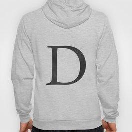 Letter D Initial Monogram Black and White Hoody