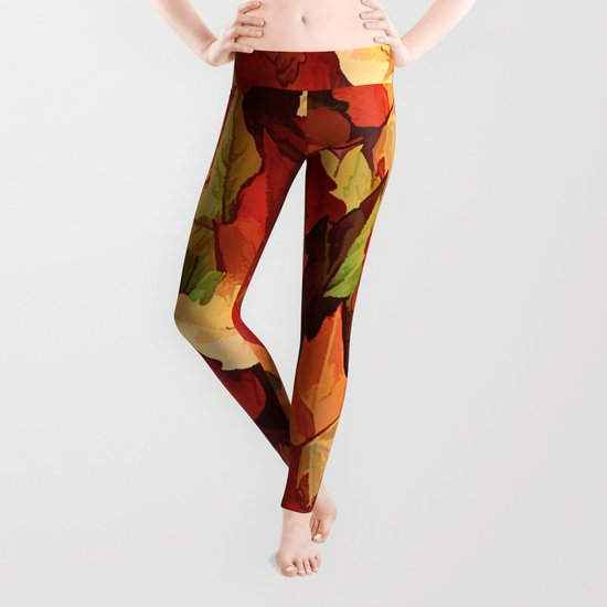 Autumn Leaves Abstract - Painterly Leggings