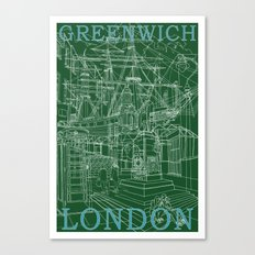 Greenwich London (green) Canvas Print