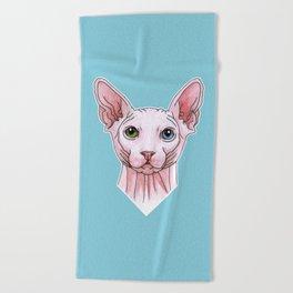 Sphynx cat portrait Beach Towel