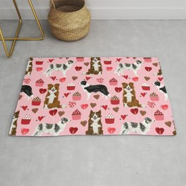Border Collie valentines day cupcakes heart love dog breed collies gifts Rug