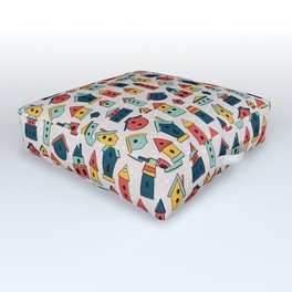 Home Sweet Home - Colorful Woodland Birdhouses Outdoor Floor Cushion
