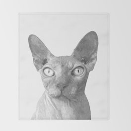 Black and White Sphynx Cat Throw Blanket