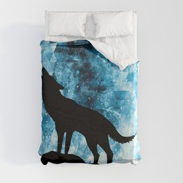 Howling Winter Wolf snowy blue smoke Duvet Cover