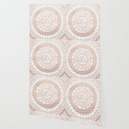 Mandala - rose gold and white marble Wallpaper