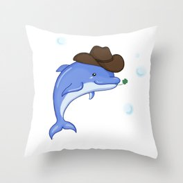 Lucky Dolphin Throw Pillow