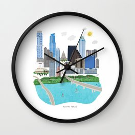 Austin Skyline Illustration Wall Clock