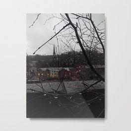 Raindrops illuminated by the sleepy town Metal Print